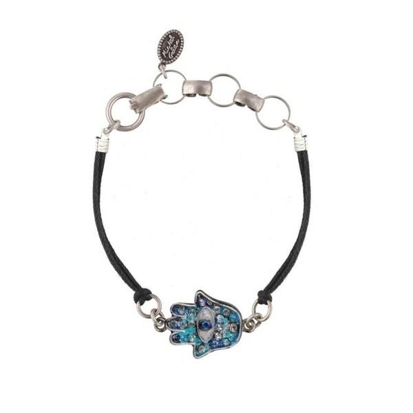 a9bce1165 Shop Michal Golan Handmade Blue and Turquoise Leather Hamsa Bracelet ...