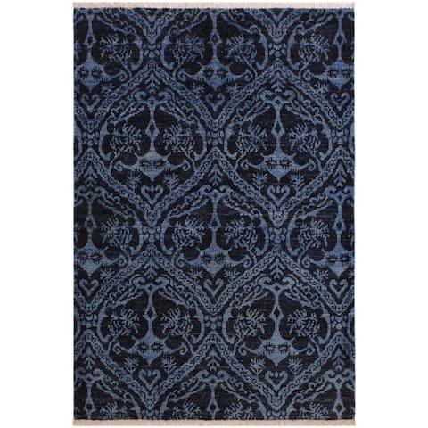 Modern Ziegler Antoine Blue/Lt. Green Wool Rug - 3'11 x 5'8 - 3 ft. 11 in. X 5 ft. 8 in. - 3 ft. 11 in. X 5 ft. 8 in.