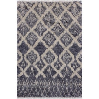 Moroccan Berenice Grey/Ivory Wool Rug - 3'1 x 4'11 - 3 ft. 1 in. X 4 ft. 11 in.