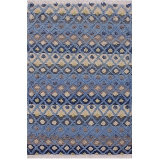 Moroccan High-Low Pile Guillerm Blue/Ivory Wool Rug - 4'0 x 6'0 - 4 ft. 0 in. X 6 ft. 0 in.