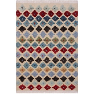 Moroccan High-Low Pile Harriett Ivory/Red Wool Rug - 4'2 x 6'0 - 4 ft. 2 in. X 6 ft. 0 in.