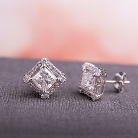Moissanite by Miadora 10k White Gold 2ct Moissanite and 1/8ct TDW Diamond Halo Stud Earrings