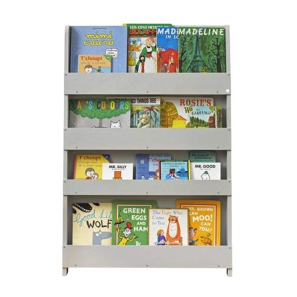 Tidy Books Kid's Handmade Wooden Bookshelf in Water Lacquer Finish - Pale Grey