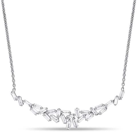 Miadora 14k White Gold 3/4ct TDW Baguette-Cut Diamond Cluster Bar Necklace