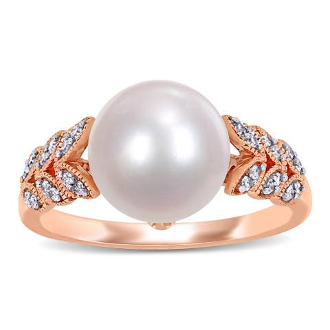 Miadora 10k Rose Gold Cultured FW Pearl and 1/6ct TDW Diamond Leaf Ring (9-10 mm)