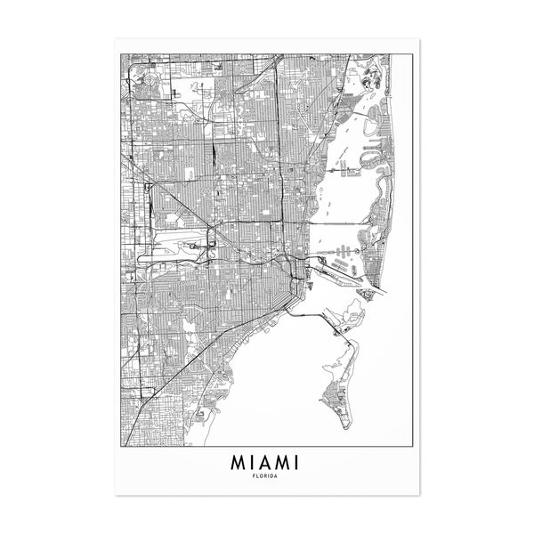 Noir Gallery Miami Black & White City Map Unframed Art Print/Poster