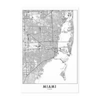 Noir Gallery Miami Black & White City Map Unframed Art Print/Poster