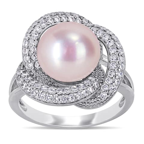 Miadora Sterling Silver Pink Cultured FW Pearl and CZ Swirl Floral Halo Ring (10-11 mm)