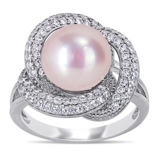 Miadora Sterling Silver Pink Cultured FW Pearl And CZ Swirl Floral Halo Ring 10 11 Mm