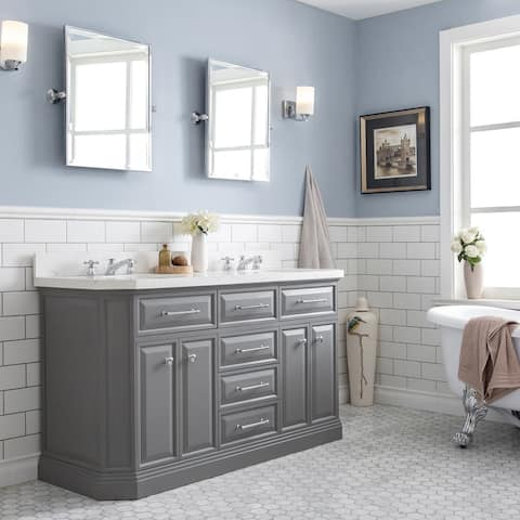Palace Collection Quartz Carrara 60-inch Bathroom Vanity Set