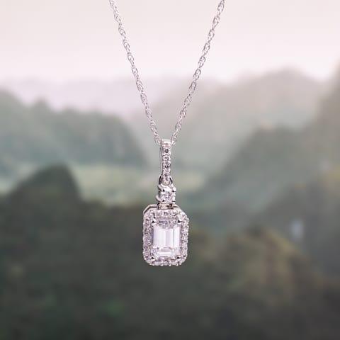 Moissanite by Miadora 10k White Gold 5/8ct Moissanite and 1/10ct TDW Diamond Halo Necklace