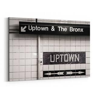 Noir Gallery Uptown Subway Sign New York City Canvas Wall Art Print