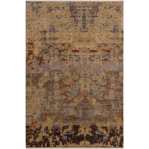 Modern Ziegler Carolynn Gold/Brown Wool Rug - 4'11 x 7'11 - 4 ft. 11 in. X 7 ft. 11 in. - 4 ft. 11 in. X 7 ft. 11 in.