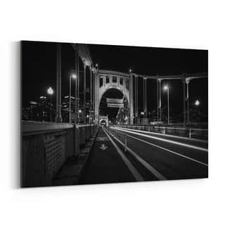Noir Gallery Pittsburgh Bridge Skyline Urban Canvas Wall Art Print