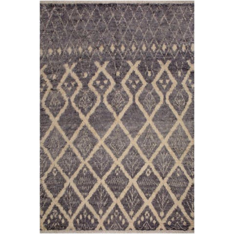 Moroccan Gertrudi Grey/Ivory Wool Rug - 7'11 x 10'4 - 7 ft. 11 in. X 10 ft. 4 in. - 7 ft. 11 in. X 10 ft. 4 in.