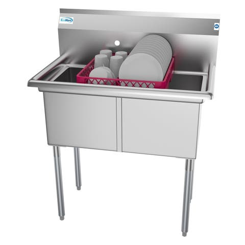 KoolMore 36-Inch Two Compartment Stainless Steel Commercial Prep and Utility Sink