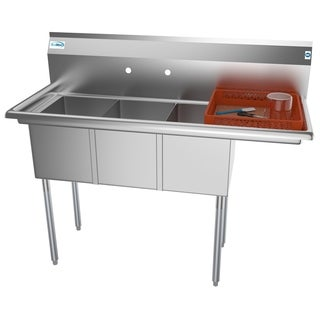 KoolMore 51-Inch Three Compartment Stainless Steel Commercial Kitchen Sink  - Right Drainboard