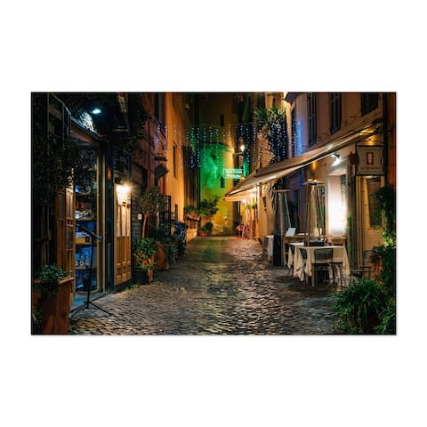 Noir Gallery Rome Italy Cobblestone Street Unframed Art Print/Poster