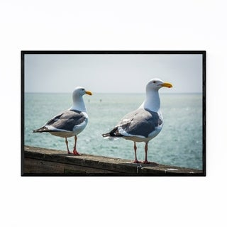 Noir Gallery Seagulls in Capitola California Framed Art Print