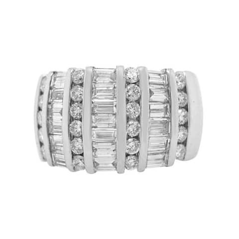 14K White Gold Diamond Vintage Dot - Dash Band Ring (G - H, VS1 - VS2) Size - 7.5