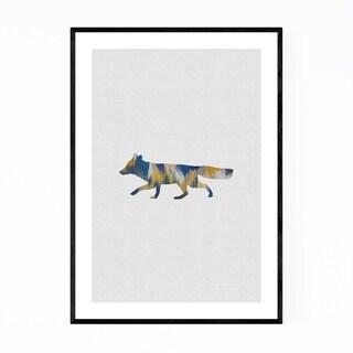 Noir Gallery Abstract Blue Fox Animal Framed Art Print