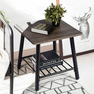 Industrial Weathered Brown Wood and Metal End Table