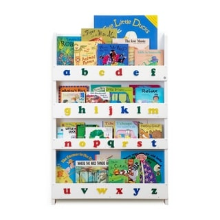 Tidy Books Kid's Handmade Wooden Bookshelf with Color Alphabet - White