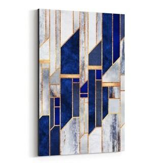Noir Gallery Blue Digital Abstract Geometric Canvas Wall Art Print