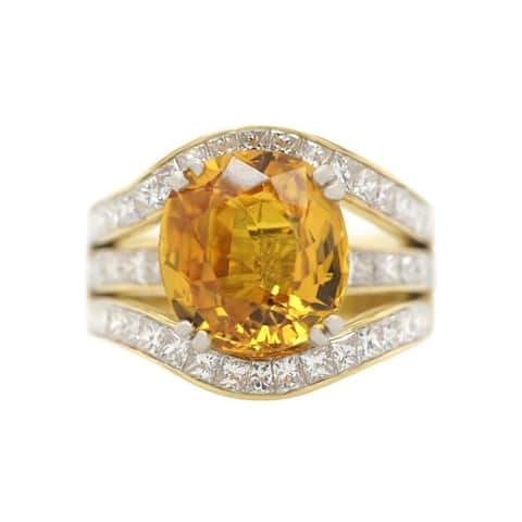 18K Yellow Gold Yellow Sapphire Diamond Invisible Set Ring