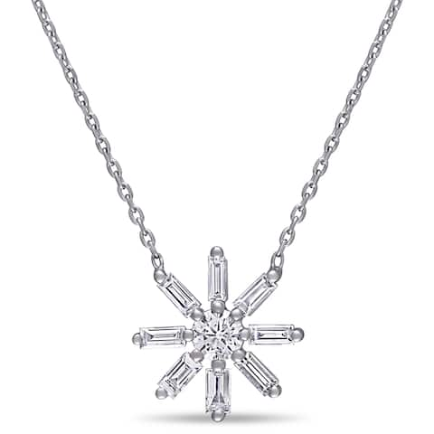 Miadora 14k White Gold 5/8ct TDW Baguette and Round-Cut Diamond Flower Necklace