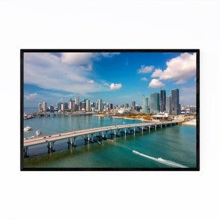 Noir Gallery Miami Florida City Skyline View Framed Art Print
