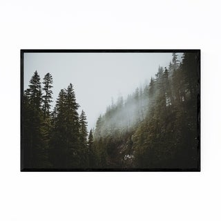 Noir Gallery Mt. Rainier Park Foggy Forest Framed Art Print