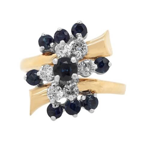 14K Yellow Gold Diamond and Sapphire Estate Cocktail Ring (G-H,SI1-SI2)