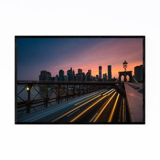 Noir Gallery New York City Brooklyn Bridge Framed Art Print