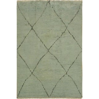 Moroccan Shenna Lt. Blue/Black Wool Rug - 6'5 x 9'9 - 6 ft. 5 in. X 9 ft. 9 in.