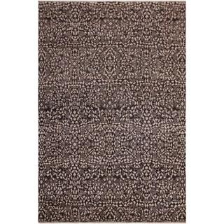 Modern Ziegler Ellie Charcoal/Ivory Wool&Silk Rug - 7'11 x 9'9 - 7 ft. 11 in. X 9 ft. 9 in.