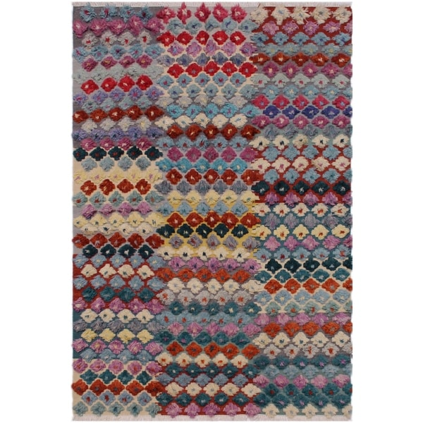 Moroccan High-Low Pile Reginia Grey/Rust Wool Rug - 6'3 x 9'3 - 6 ft. 3 in. X 9 ft. 3 in.