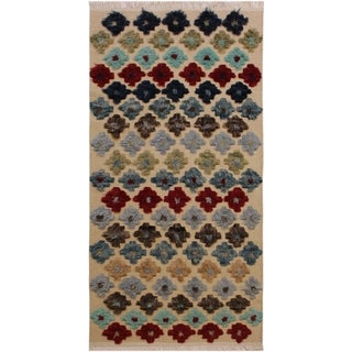 Moroccan High-Low Pile Lashaund Ivory/Red Wool Rug - 3'0 x 5'7 - 3 ft. 0 in. X 5 ft. 7 in.