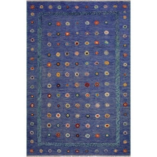 Moroccan High-Low Pile Candi Blue/Green Wool Rug - 6'10 x 9'8 - 6 ft. 10 in. X 9 ft. 8 in.