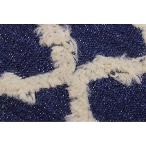 Moroccan High Low Pile Benton Blue Ivory Wool Rug 9 6 X 11 10 9 Ft 6 In X 11 Ft 10 In 9 Ft 6 In X 11 Ft 10 In On Sale Overstock 27449465