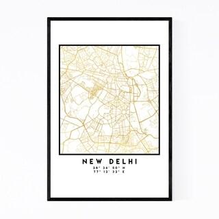 Noir Gallery Minimal New Delhi City Map Framed Art Print