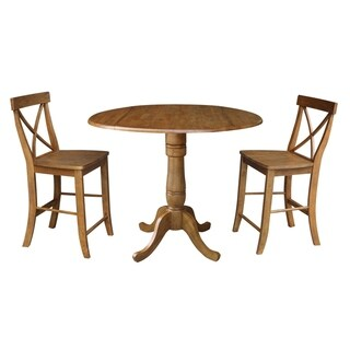 "42"" Round Gathering Height Table and Two Counter Height Stools - Pecan"