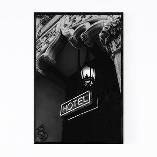 Noir Gallery Architecture Neon Hotel Sign  Framed Art Print