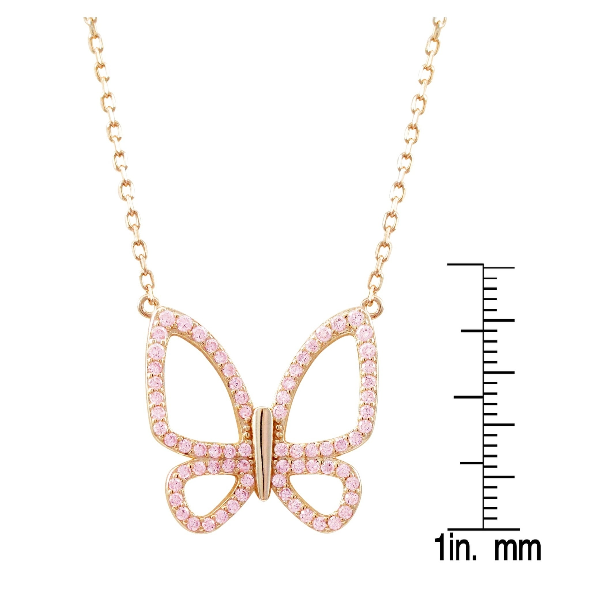 Sterling Silver Rose Gold Plated Butterfly Pendant W// CZ