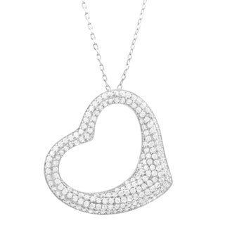 Link to Luxiro Sterling Silver White Cubic Zirconia Open Heart Pendant Necklace Similar Items in Necklaces