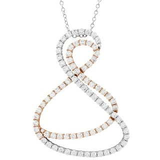 Link to Luxiro Two-tone Finish Sterling Silver White Cubic Zirconia Double Open Twist Pendant Similar Items in Necklaces