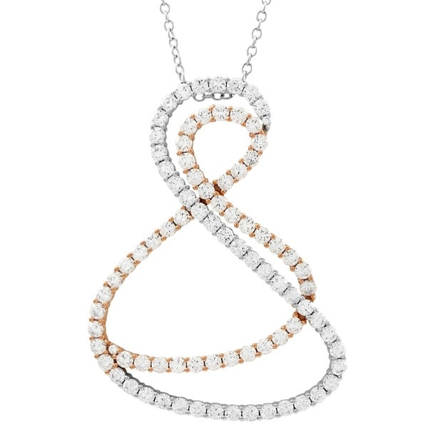 Luxiro Two-tone Finish Sterling Silver White Cubic Zirconia Double Open Twist Pendant. Opens flyout.