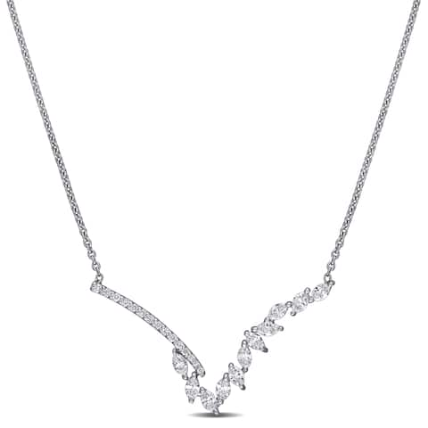Miadora 14k White Gold 1/2ct TDW Round and Marquise-Cut Diamond V-Shape Bar Necklace