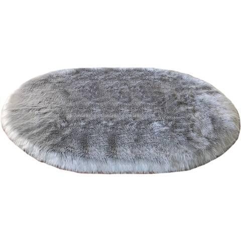 Silver Orchid Nansen Faux Sheepskin Oval Shape Shag Area Rug