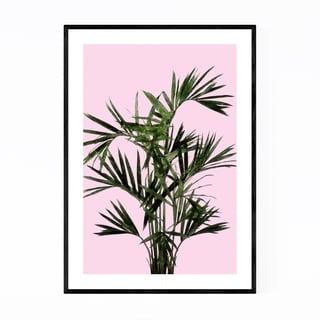 Noir Gallery Minimal Palm Plant Pink Framed Art Print